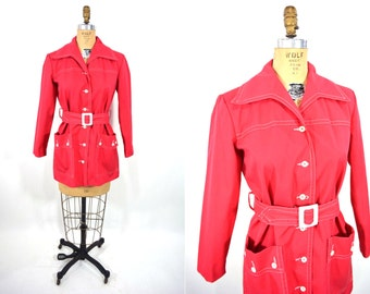 1960s jacket vintage 60s red mod button down belted Koret spring trench jacket S/M