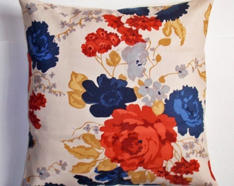 """Throw Pillow Cover, Toss Pillow, Accent Pillow, Cushion Cover, Pillowcase, Americana Pillow, Floral Pillow, Waverly Fabric, 16x16"""" Square"""
