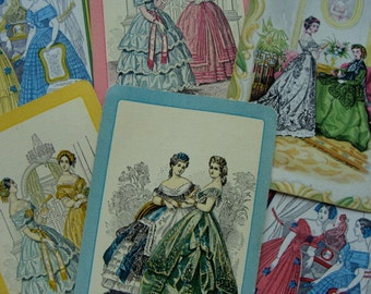 6 Antique Les Modes Godey Ladies 3rd Series Collector Playing Cards