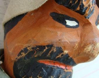 Rare Antique Creepy German Carved Head Hand Puppet Folk Art