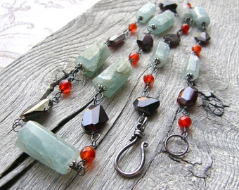 Long Aquamarine, Garnet and Carnelian Wire Wrapped Necklace, Statement Gemstone Necklace