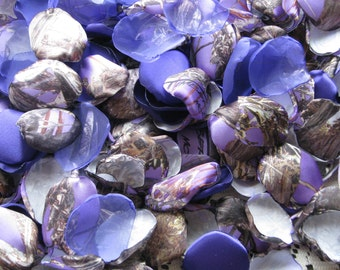 200 Purple CAMOUFLAGE PETALS, organza petals and satin PETALS by Jilliann's