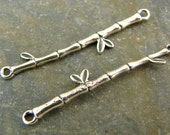 Delicate Bamboo - Artisan Sterling Silver Branch Links - One Pair - ldbb