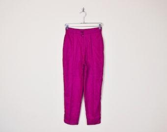 Vintage 80s 90s Pink & Black Houndstooth Pant Plaid Pant High Waist Pant Skinny Pant Skinny Leg Pleat Pant Trouser Dress Pant Women S Small