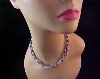 Art Deco Silver Torsade MESH & Aurora Borealis CHATONS Choker/Necklace