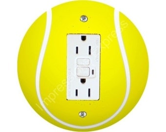 Tennis Ball GFI Grounded Outlet Plate Cover