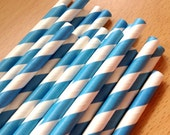 Set of 25 - BLUE Stripes Paper Straws - Vintage Paper, Mason Jar, Wedding, Baby Shower,Tea Party, Bridal, Engagement Party
