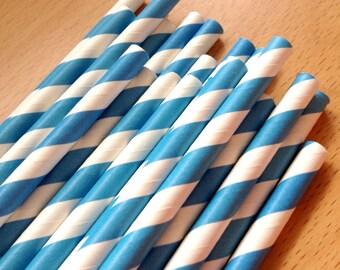 SALE was 2.99 - Set of 25 - BLUE Stripes Paper Straws - Vintage Paper, Mason Jar, Wedding, Baby Shower,Tea Party, Bridal, Engagement Party
