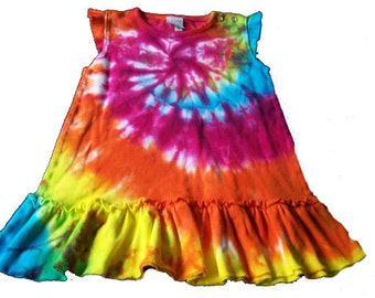 Tie Dyed, Hippie, Sunshine Rainbow Spiral  Baby Girl Ruffle Dress In stock and READY TO SHIP