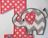 Birthday Iron On Applique - Sweet Girly Elephant Birthday