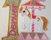 Iron On Carousel Horse with Birthday Number and Embroidered Name - Iron on or Sew On Applique