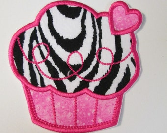 Iron On Applique - Zebra Cupcake