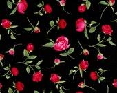 "Black Pink Peony Buds Fabric - 29"" x 44"" - Timeless Treasures - C2136"