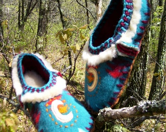 New Moon Arising Scuffs -  Appliqued Felted Lined  Blanket Wool / Sheepskin & Leather Soles Moccasins / Slippers - Women's or Men's Sizes