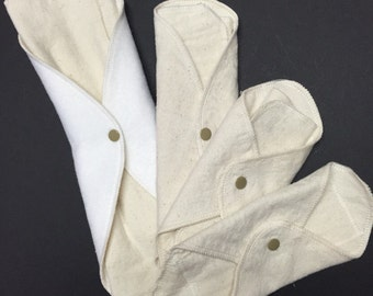Single LadyWear Quick-Dry cloth menstrual pads - Natural Undyed Cotton Flannel