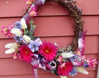 Custom Silk Flower Grapevine Wreath Spring Blossoms Home Decor Front Door Wreath