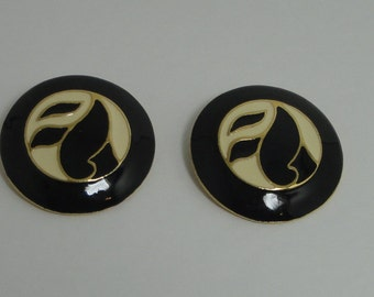 Gold tone with Black and Tan Enamel Clip Earrings