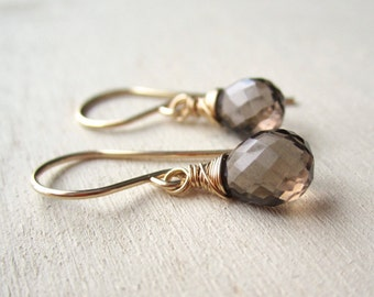 Smoky quartz gemstone earrings on gold-filled wire