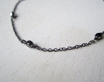 Blackened sterling silver chain with Czech fire polished beads