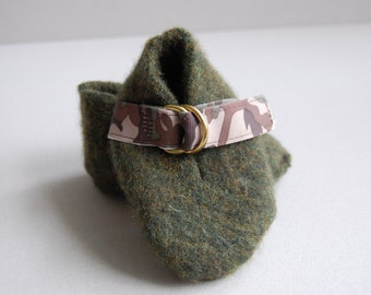 Olive green/camo felted booties - Ready to ship