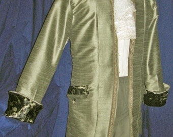 """Unique MINT Satin Tailored Frock Coat-Colonial,Pirate,Classic Gentleman 48""""  FREE SHIPPING !!"""