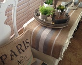 French Grain Sack style Burlap Table Runner  with White and Silver Stripes  Farmhouse/Coastal/Beach/Lakehouse/Rustic Cottage Chic