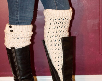 Creme Legwarmers with 2 small buttons - slouchy legwarmers - boot socks - long boot socks - winter accessory