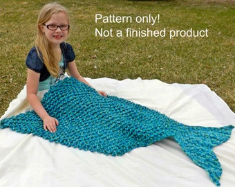 Free Knitting Pattern For Child s Mermaid Blanket : Mermaid Tail Blanket Crochet Pattern - Adult size lap blanket - girl blanket ...