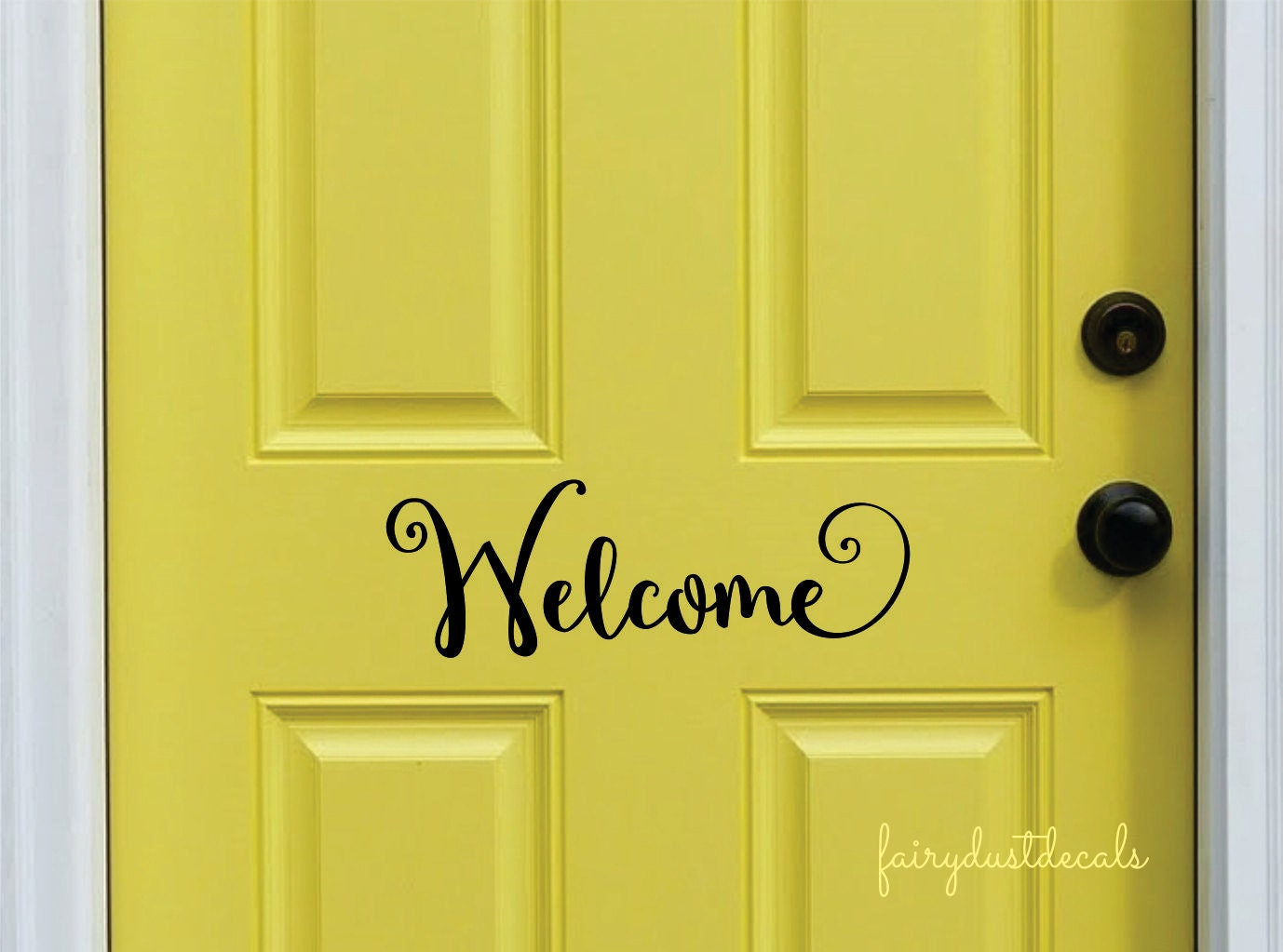 Welcome decal front door vinyl lettering vinyl letters for Door vinyl design