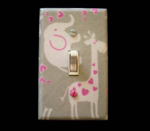 Giraffe Elephant Light Switch Cover Gray By Cathyscraftycovers