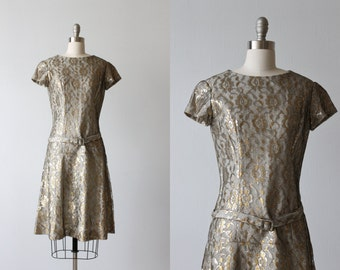 Lame Dress / 1960s Dress / Gold and Silver / Lace /  Silver Mist
