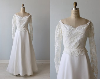 Lace Wedding Dress /  A Line Wedding Dress / Long Sleeves / Off the Shoulder / Interlude