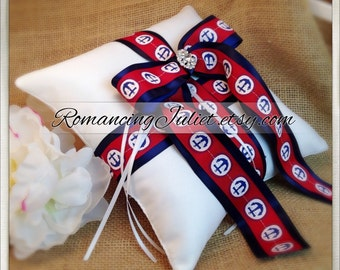 Anchors Away Satin Elite Ring Bearer Pillow...You Choose the Colors...Buy One Get One Half Off...shown in white pillow/navy blue accent