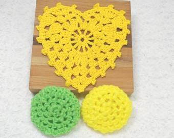 Pot Scrubbers, dishcloth, kitchen cleaining aid, nylon net, cotton, home, scour pads, eco friendly, many colors, handmade. Pick your 3pc.