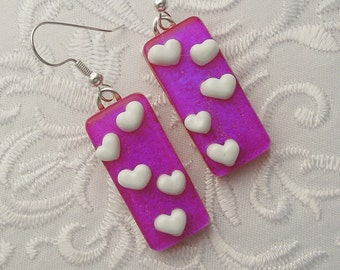 Dichroic Fused Glass Earrings - Heart Earrings - Heart Jewelry - Valentine Earrings - Stick Earrings - Heart - Violet Earrings X3442