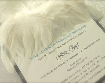 Feather Angel Wing - Angel Baby Invitations