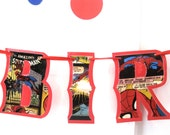 Spiderman HAPPY BiRTHDAY Banner - Upcycled © Marvel scrapbook paper