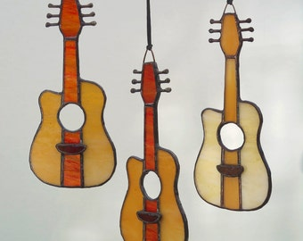 Stained Glass Acoustic Guitar fan pull