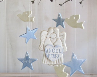 Memorial Angel Stars and Doves Memorial  Wind Chime Personalized