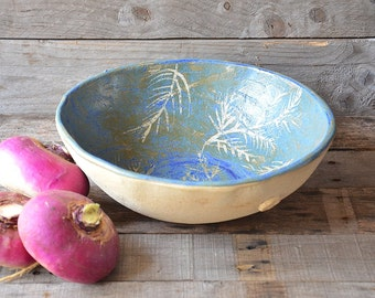 Handmade bowl in blue with fern impressum - Stoneware (grès) Bowl