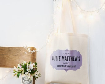 Bridesmaid Survival Kit Tote Bag - Personalised Gift for Bridesmaids and Maids of Honor