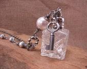 Repurposed Mini Crystal Salt Shaker Long Length Necklace  - JUNE Birthstone - Salt of the Earth - Skeleton Key, White Swarovski Brand Pearls