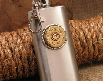 Bullet Jewelry - Men's Accessories - Gift for Guy - Keychain Flask - 2 oz 12g Shotgun Casing Stainless Steel Key Chain Flask - Mini Flask
