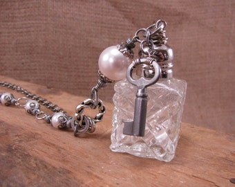 Upcycled Jewelry - Mini Crystal Salt Shaker Long Length Necklace with Skeleton Key, White Swarovski Pearls - Salt of the Earth