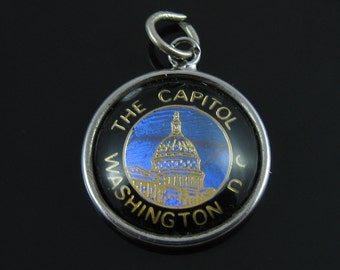 Vintage Hoffman Sterling Silver The Capitol Washington DC Bubble Dome Charm with Butterfly Wings