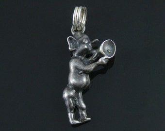 Vintage Sterling Silver Risque Pixie Elf with Trumpet Charm