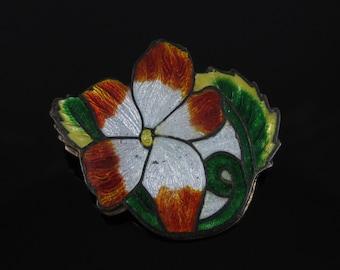 Vintage Colorful Enamel Flower Copper Brooch Pin