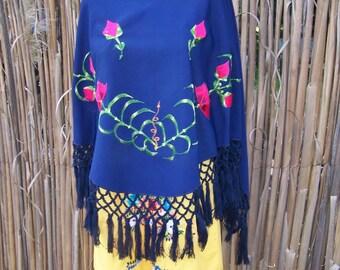 Gypsy Shawl embroidered Blue Fringe wrap osfm