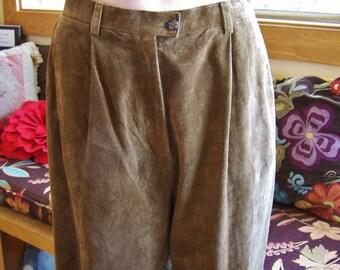 Leather shorts, High waist shorts, designer shorts, Vintage Ralph Lauren, Brown Suede shorts, size  M / L
