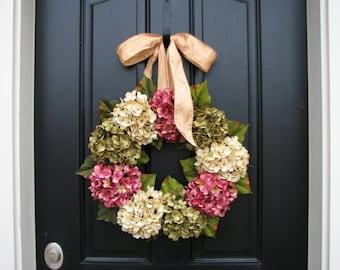 Hydrangea Wreaths, Spring Wreaths, Spring Hydrangea Wreaths, Spring Decorative Wreaths, Pink Hydrangeas, Green Hydrangeas, MOTHER'S DAY